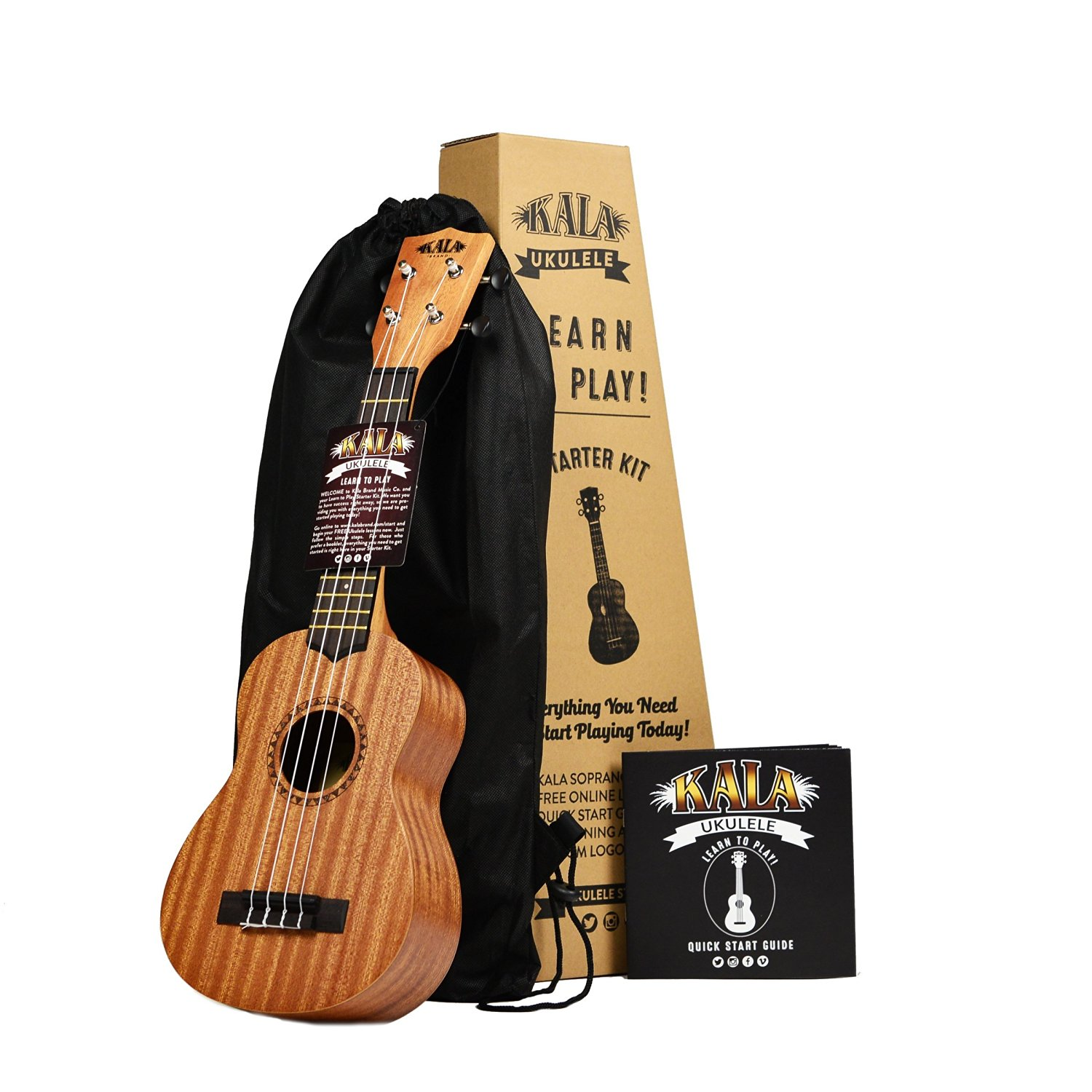 Kala Learn To Play Ukulele Starter Kit, Light Mahogany Stain (Amazon Exclusive)